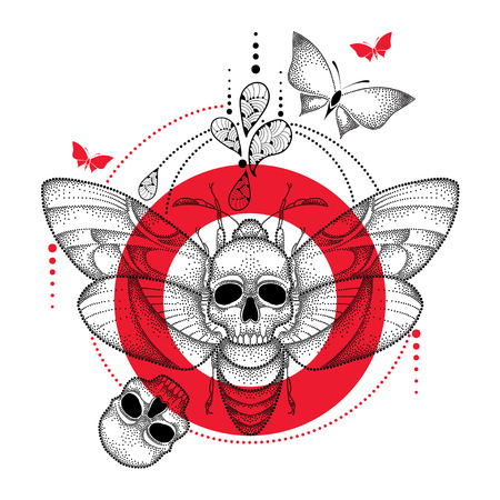 drawing of dotted black Deaths head hawk moth or Acherontia atropos, red round and skull isolated on white background. Illustration of butterfly with skull in dotwork style for tattoo design.