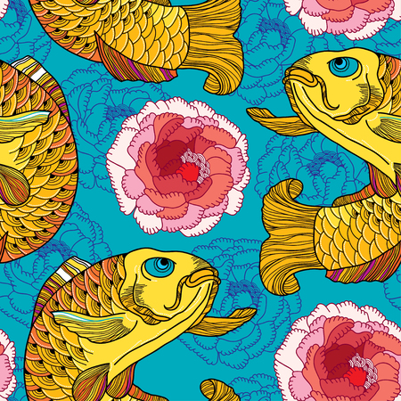 seamless pattern with outline golden koi carp and pink chrysanthemum or dahlia on the turquoise background. Japanese ornate fish and flower in contour style. Background in linear art.