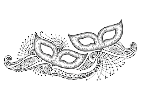 drawing with two dotted carnival mask and outline decorative lace in black isolated on white background. Design for Mardi Gras party in contour style. Carnival elements for coloring book. Vettoriali