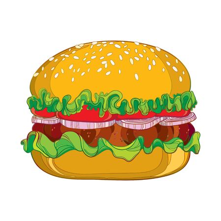sesame: Vector illustration of outline classic hamburger with grilled beef, tomatoes, lettuce, onion and sesame seed isolated on white background. Fast food elements in contour style for design food menu.