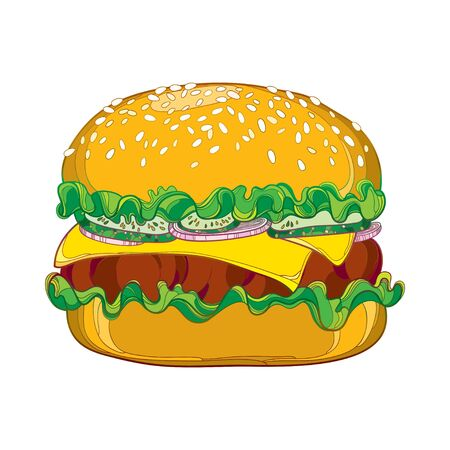 sesame: Vector outline cheeseburger with cheese, grilled beef, cucumber slice, lettuce salad, onion and sesame seed isolated on white background. Fast food elements in contour style for design food menu. Illustration