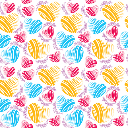 Vector seamless pattern with striped heart and curly lines on the white background. Design elements and holiday symbols in line art style. Romantic background with hearts for Valentine day.
