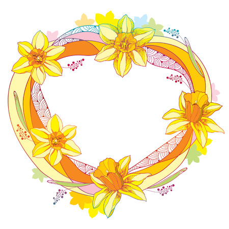 Vector round frame with outline narcissus or daffodil flower and leaves in orange and yellow isolated on white background. Ornate floral elements for spring design and greeting card in contour style.