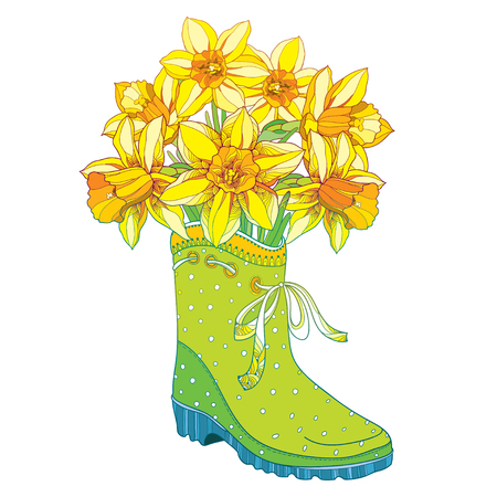 Vector bouquet with outline yellow narcissus or daffodil flower in the green rubber boot isolated on white background. Floral elements in contour style with narcissus and gumboot for spring design. Illustration