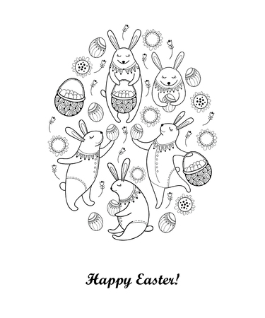 Vector Happy Easter card with outline easter rabbit, egg and basket isolated on white background. Cartoon elements with cute bunny and eggs in contour style for coloring book and greeting design. Stock Vector - 73048702
