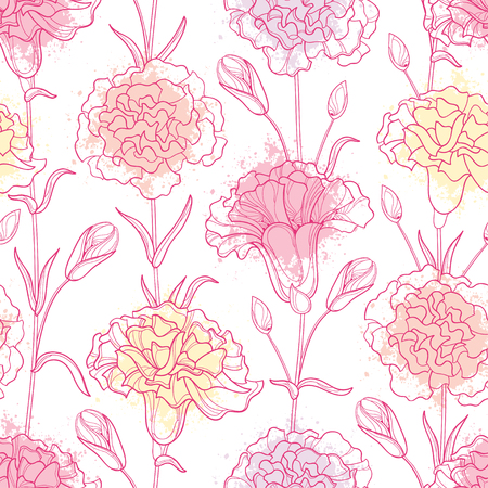 Seamless pattern with outline Carnation or Clove flowers, bud and leaves in pastel and pink.