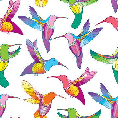 Seamless pattern with colorful flying Hummingbird or Colibri in contour style.