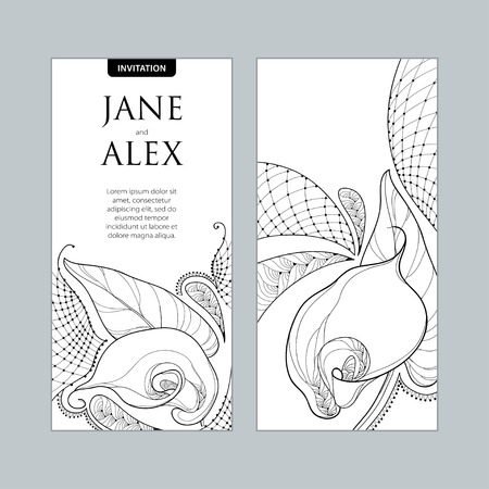 Wedding invitation with outline bouquet Calla lily flower or Zantedeschia in black and white. Vertical template in contour style with ornate calla and decorative lace for wedding design.