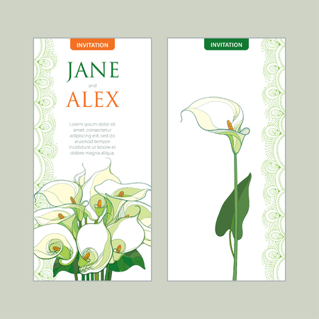 Wedding invitation with outline bouquet Calla lily flower or Zantedeschia in pastel colors. Vertical template in contour style with ornate calla and decorative lace for wedding design.