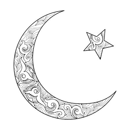黒白い背景で隔離の三日月と星のシルエット。ラマダンの輪郭のスタイルで華やかなモチーフとイスラムのシンボル。ラマダン カリーム デザインや