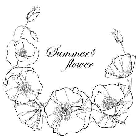 Ronde kroon met overzicht Poppy bloem en bud in zwart op een witte achtergrond. Bloemenelementen in contourstijl met klaproos voor zomerontwerp en kleurboek. Symbool van de Herinneringsdag.