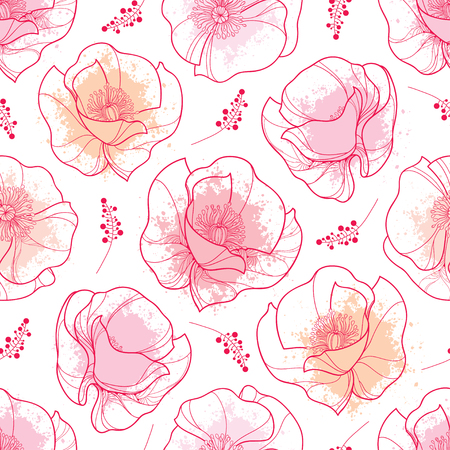 Seamless pattern with outline red Poppy flower and pink pastel blots on the white background. Elegance floral background with ornate poppies in contour style for summer design.
