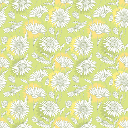 Seamless pattern with outline white Chamomile flower and leaves on the pastel background. Chamomile pattern in contour style for summer design, cosmetics, medicine, homeopathy, aromatherapy. Illustration