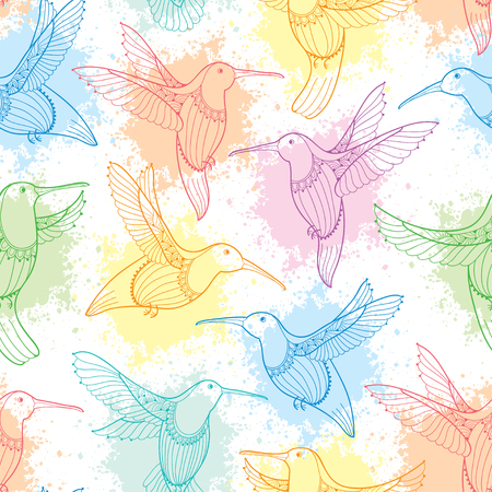 Seamless pattern with flying Hummingbird or Colibri in contour style and blots in pastel color on the white background. Elegance background with an exotic tropical bird for summer design.