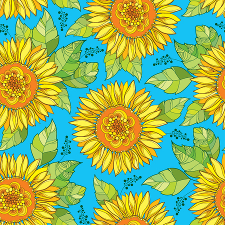 Seamless pattern with outline open Sunflower or Helianthus flower in yellow and green leaves on the blue background. Floral pattern with ornate Sunflowers in contour style for summer design.