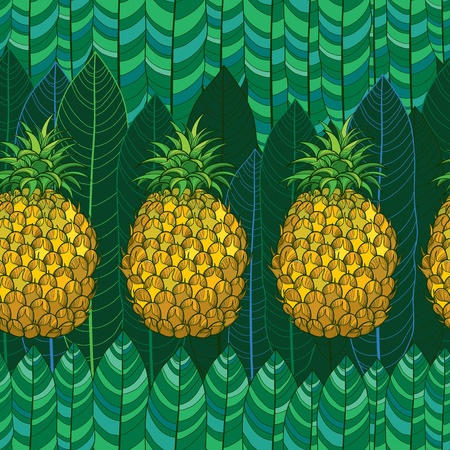 Seamless pattern with outline yellow Ananas or Pineapple and palm leaves on the green background. Fruit pattern with perennial tropical plant in contour style for exotic summer design. Ilustração