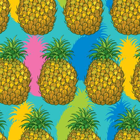 Seamless pattern with outline Ananas or Pineapple in bright color on the turquoise background. Fruit pattern with perennial tropical plant in contour style for exotic summer design.