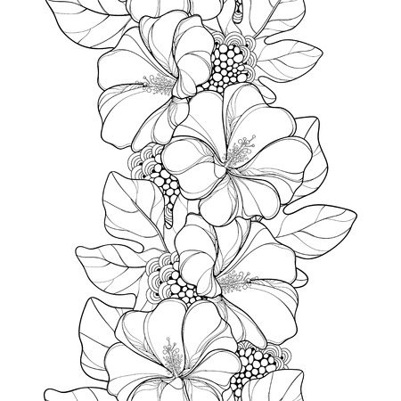 Seamless pattern with outline Alcea rosea or Hollyhock flower and leaves on the white background. Floral pattern in contour style with ornate Hollyhock for summer design and coloring book.