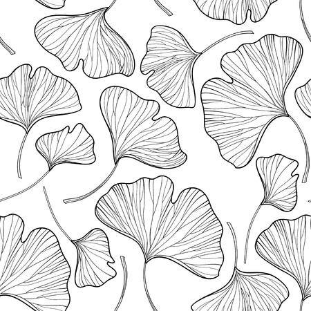 Patrón sin fisuras con contorno Gingko o Ginkgo biloba deja en negro sobre el fondo blanco. Patrón floral con follaje de Gingko en el estilo de contorno para el diseño de verano y libro para colorear.