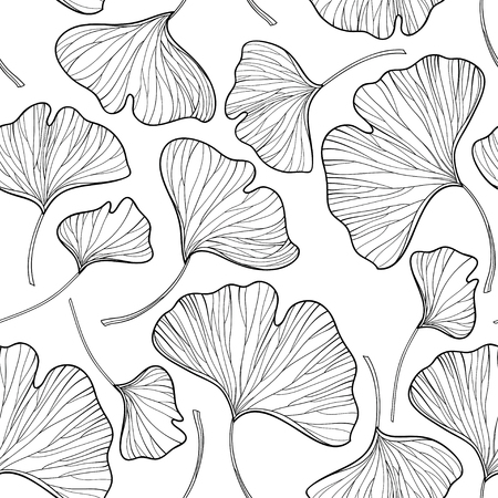 Seamless pattern with outline Gingko or Ginkgo biloba leaves in black on the white background. Floral pattern with Gingko foliage in contour style for summer design and coloring book.