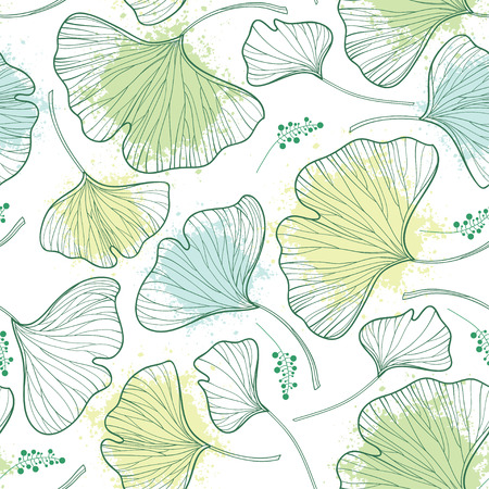 Seamless pattern with outline Gingko or Ginkgo biloba leaves and blot in a pastel green on the white background. Floral pattern with Gingko foliage in contour style for summer design.