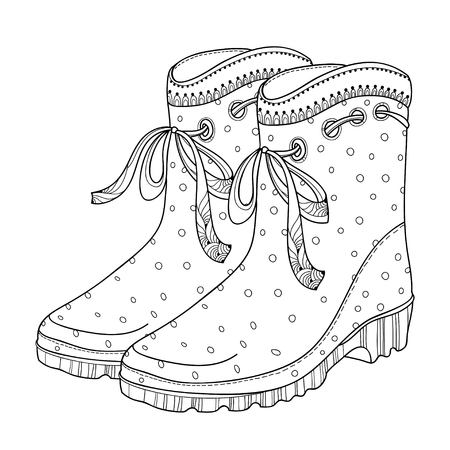 Drawing outline rubber boots in black with ornate bow isolated on white background. Gumshoes for rainy weather. Waterproof footwear in contour style for autumn design or coloring book. Illustration