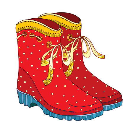 Illustration of outline red rubber boots with ornate bow isolated on white background. Trendy gumshoes for rainy weather. Waterproof footwear in contour style for autumn design.