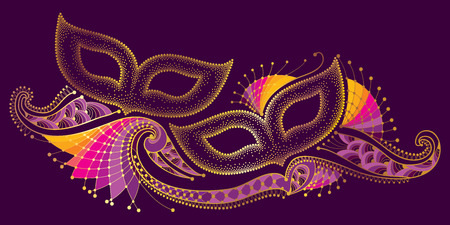 Greeting poster with two dotted carnival mask and outline decorative lace in gold on the violet background. Celebration design for invitation Mardi Gras carnival in contour style.