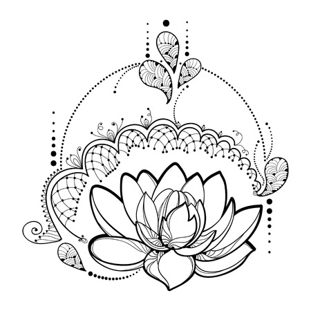 Drawing with outline Lotus flower, decorative lace and swirls in black isolated on white background. Illustration