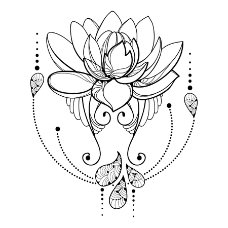 Drawing with outline Lotus flower, decorative lace and swirls in black isolated on white background. Floral abstract composition with ornate lotus in contour style for tattoo design.