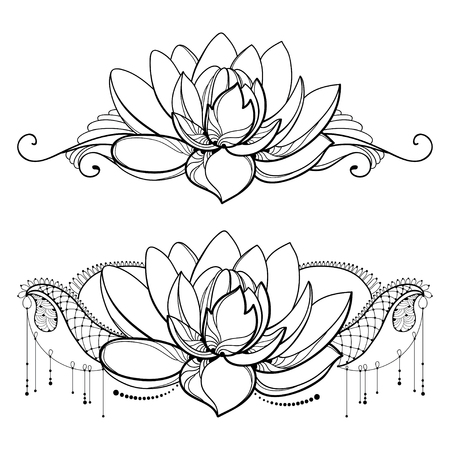 Drawing with outline Lotus flower, decorative lace and swirls in black isolated on white background. Floral horizontal composition with ornate lotus in contour style for tattoo design.