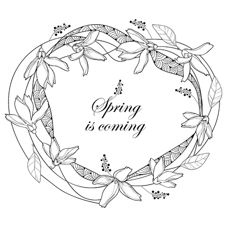 Round wreath with outline Forsythia flower and leaves in black isolated on white background. Spring blossom of garden plant Forsythia in contour style for spring design and coloring book.