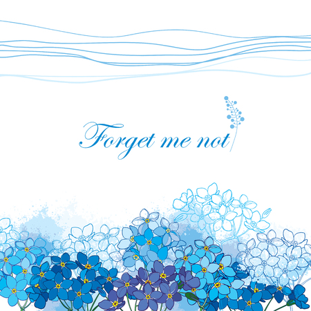 Background with outline Forget me not or Myosotis bunch in pastel blue on the white background. Greeting card with Forget me not flower in contour style for spring design or romantic decor.