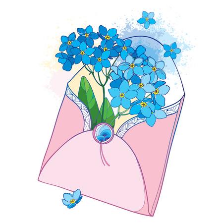 Bouquet with outline blue Forget me not or Myosotis flower in an open pink craft envelope. Ilustração
