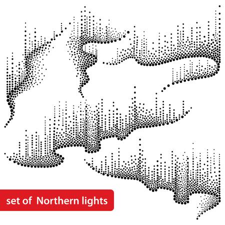 黒または白の点線の渦巻きで設定します。オーロラボレアリスは、北極空間や銀河のデザインのためのドットワークスタイルのライト。  イラスト・ベクター素材