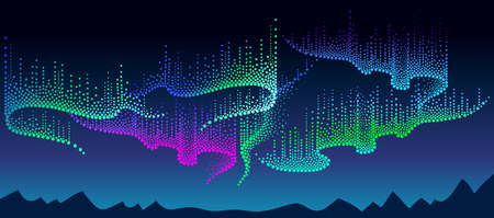 Panorama of Polar sky with color northern or polar light. Night landscape with dotted swirls of Aurora borealis lights in dotwork style on the dark background for space or galaxy design.