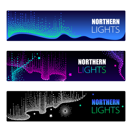 Horizontal template with dotted swirls of color. Aurora borealis lights in dotwork style on the night background for arctic space or galaxy design. Illustration