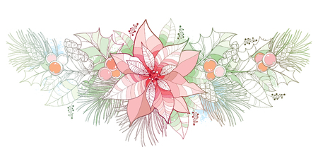 Contour Poinsettia flower in pastel color isolated on white background. Horizontal border with outline poinsettia, holly berry, mistletoe, pine and cone for Christmas design and decoration.