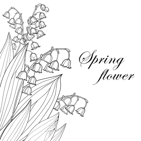 Bouquet with outline Lily of the valley or Convallaria flower and leaf in black isolated on white background. Ornate May bells in contour style for spring design, invitation or coloring book. Vectores
