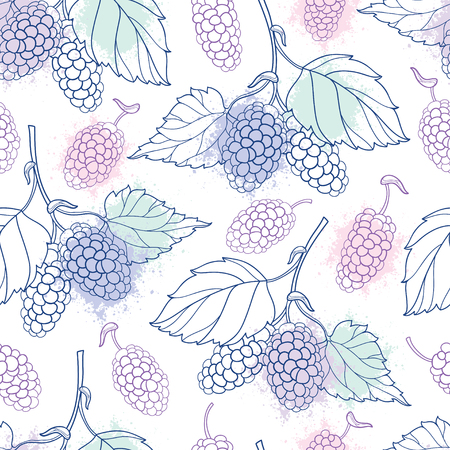 Seamless pattern with outline Mulberry or Morus bunch with berry and leaf in pastel color on the white background.
