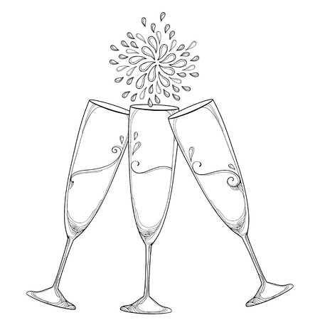 Drawing with three outline toasting champagne glasses or flute in black isolated on white background. Glass for wine and winery in contour style for holiday design and coloring book.