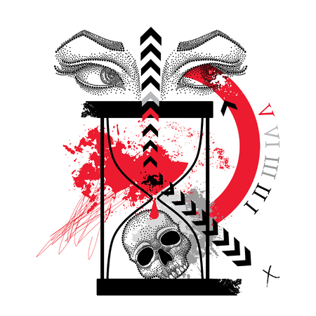 Drawing dotted skull, woman eyes, abstract arrow and hourglass in red and black isolated on white background. Sketch for tattoo flash in Trash Polka and dotwork. Creative Trash Polka design. Illustration