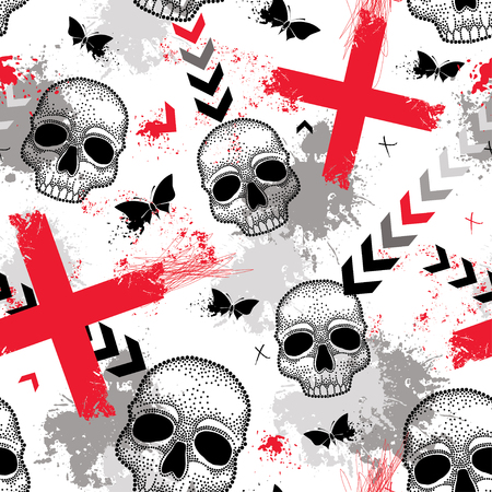 Seamless pattern with dotted skull, red crosses, butterflies, blots and arrows in red and black on the white background. Abstract background in creative Trash Polka and dotwork style.