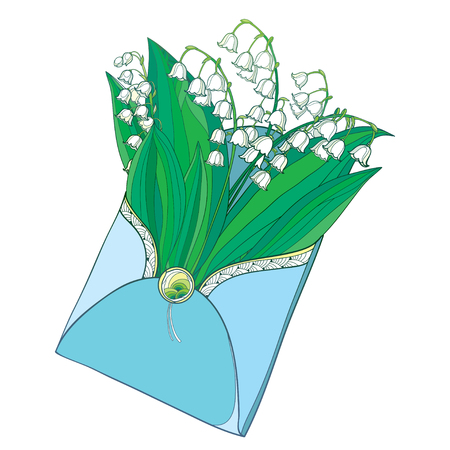 Bouquet with outline Lily of the valley or Convallaria flower in pastel isolated on white. Contour ornate May bells for romantic spring design.