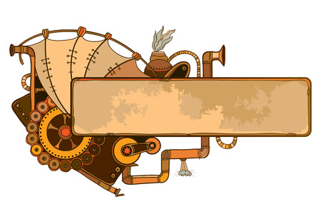 Drawing of outline steampunk horizontal frame with mechanical gears and pipes in beige and brown isolated on white background. Contour composition for steampunk and retro design.