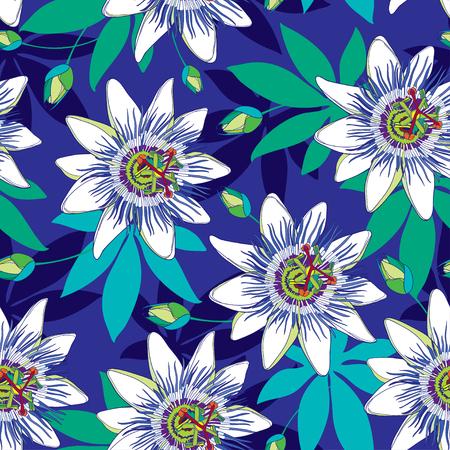 Modèle sans couture avec contour tropical Passiflora ou fleurs de la Passion en bleu et blanc, bourgeon et feuilles sur le fond bleu. Fond floral dans le style de contour pour la conception de l'été exotique.