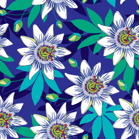 Seamless pattern with outline tropical Passiflora or Passion flowers in blue and white, bud and leaves on the blue background. Floral background in contour style for exotic summer design. Illustration
