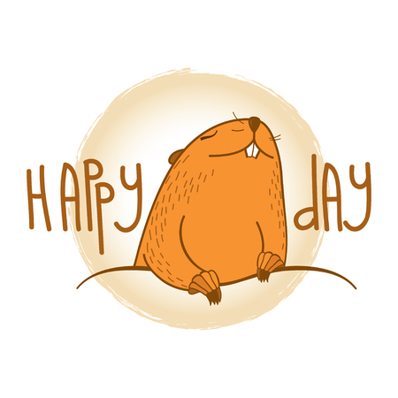 Happy Groundhog day card with outline cute brown groundhog or marmot or woodchuck isolated on white background. Forecast spring animal in contour style for greeting design.