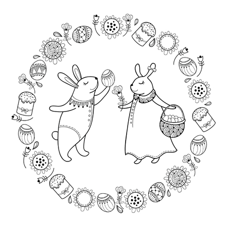 Happy Easter card with outline Easter rabbit couple, egg, cake and basket isolated on white background. Easter composition with cute bunny in contour style for coloring book and greeting decor. Illustration