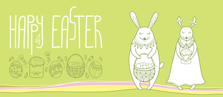 Happy easter horizontal greeting card with outline easter rabbit 95962266 happy easter horizontal greeting card with outline easter rabbit couple and traditional easter symbol isolated on pastel green background m4hsunfo